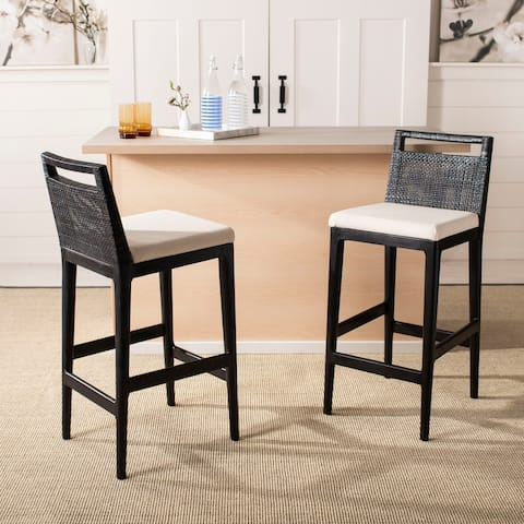 "Safavieh 29-inch Darin Black/ White Cushion Barstool - 15.8"" x 20.5"" x 38.8"""