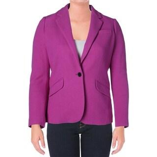 Lauren Ralph Lauren Womens Wool Blend Notch Collar One-Button Blazer - 14