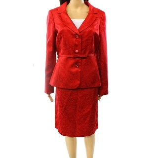 Kasper NEW Red Lace Women's Size 4 Jacquard Belted Skirt Suit Set
