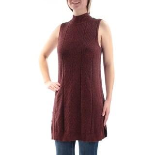Womens Orange Navy Sleeveless Jewel Neck Casual Sweater Size M