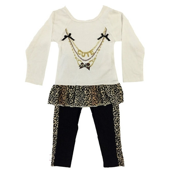 Ziggles Wiggles Baby Girls Ivory Cute Necklace Long Sleeve 2 Pc Outfit 12-24M