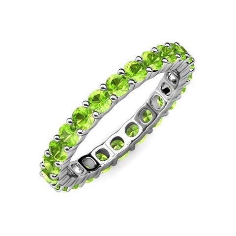 TriJewels Peridot Women Eternity Ring Stackable 3.19 ctw 14K Gold