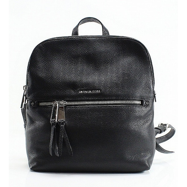9aba629503ac Shop Michael Kors Black Pebble Leather Rhea Slim Designer Backpack ...