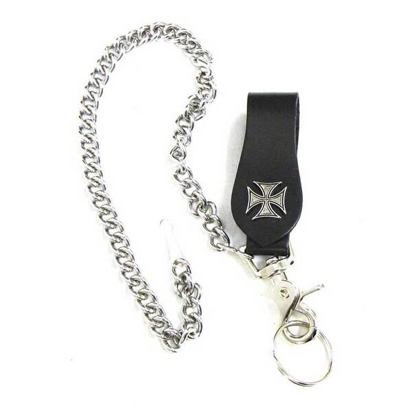 "Mascorro Leather Iron Cross Keychain Fob with Metal Biker Chain Black K18-IC - 3.5"" x 1.5"""