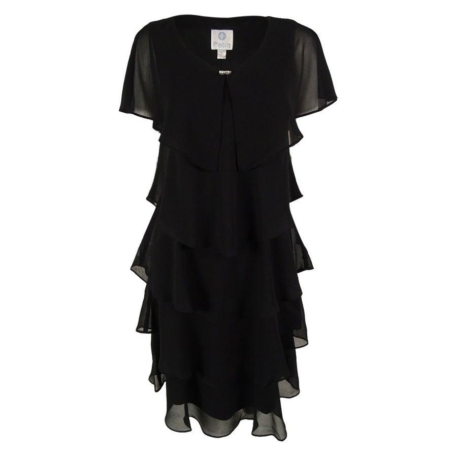 Patra Women\'s Plus-Size Short Sleeve Tiered Dress - Black