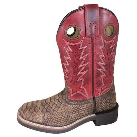 Smoky Mountain Western Boots Boys Viper Leather Pull Holes Brown