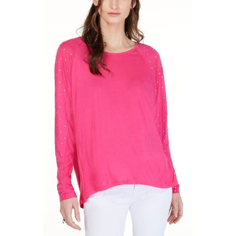 MICHAEL Michael Kors Ladies Studded-Sleeve Top Large L Electric Pink