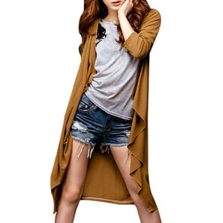 Woman Long Sleeve Open Front Knee Length Drape Jacket Coat Brown XS
