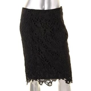 Calvin Klein Womens Lace Overlay Knee Length Pencil Skirt - 2