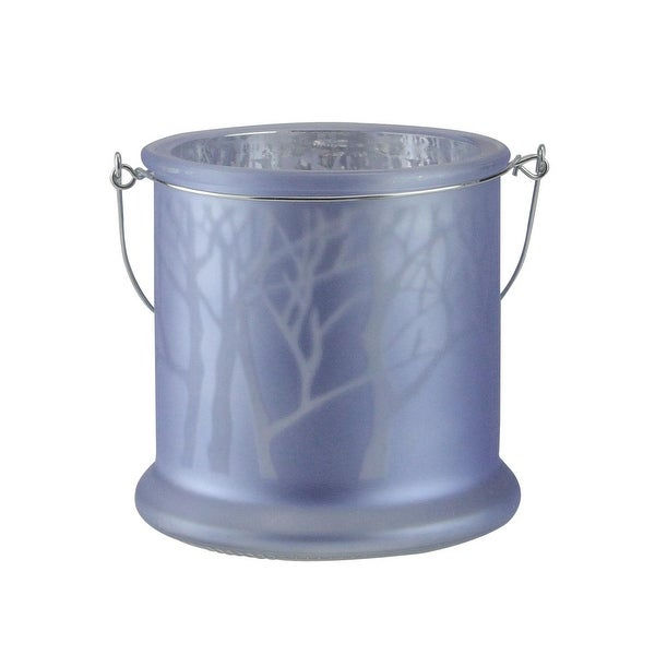 "9"" Winter Light Frosted Blue Glass Candle Lantern Christmas Decoration"