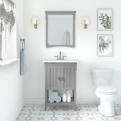 Salinas 24W Bathroom Vanity Sink with Mirror by Bush Furniture
