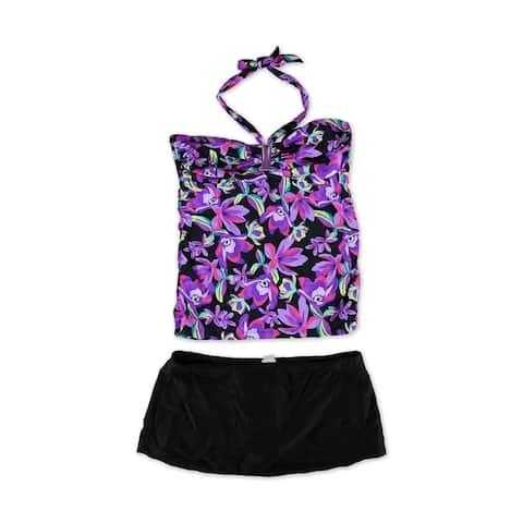 Island Escape Womens Shirred Floral Skirtini 2 Piece Bandini, black, 16