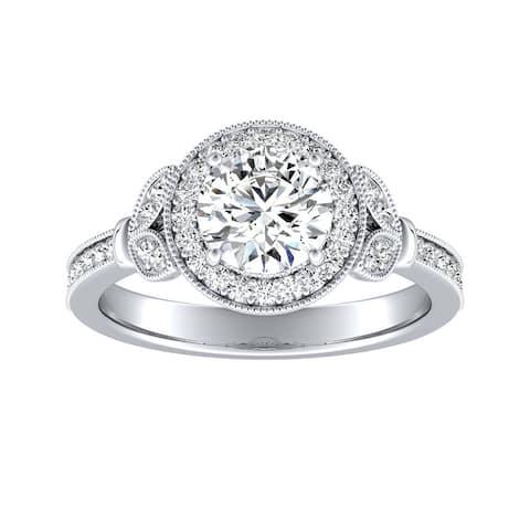 Auriya 14k Gold 1 1/4ctw Vintage Moissanite Engagement Ring