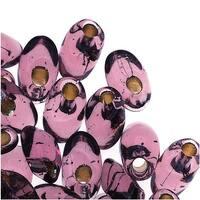 Miyuki Long Magatama Seed Beads 4x7mm - Silver Lined Smokey Amethyst (8.5g)