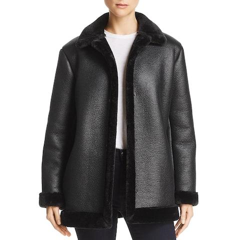 French Connection Womens Louie Faux Fur Coat Faux Shearling Reversible - Black