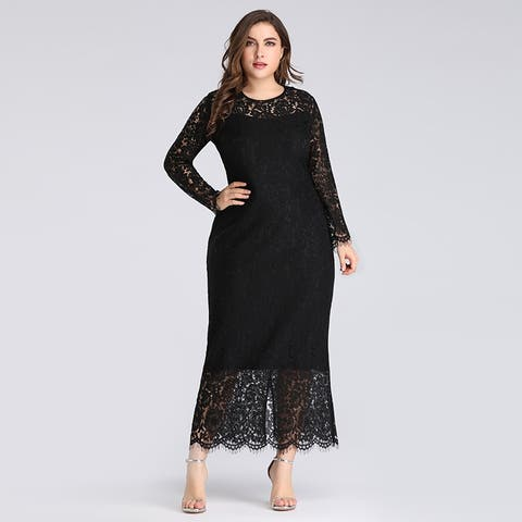 Ever-Pretty Women's Plus Size Black Lace Party Evening Casual Dress 03077