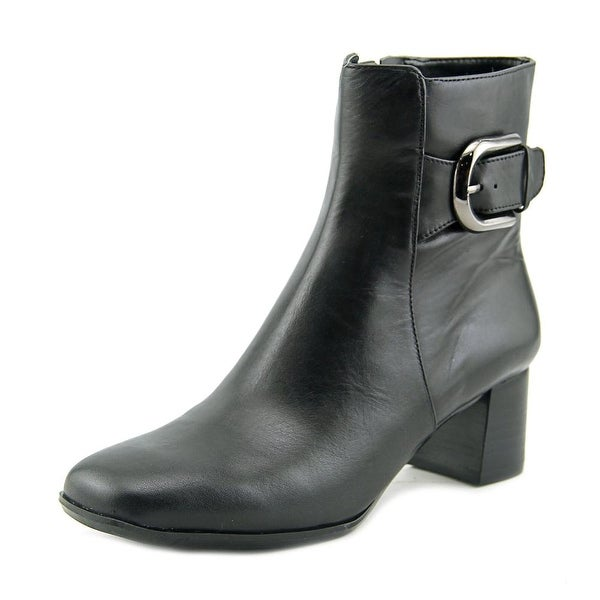 Nine West Poppyo Women Square Toe Leather Black Ankle Boot