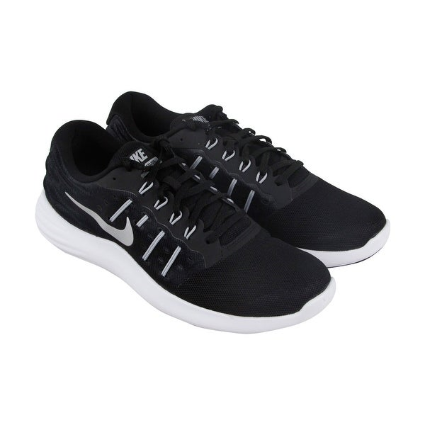 Nike Lunarstelos Mens Black Mesh Athletic Lace Up Running Shoes