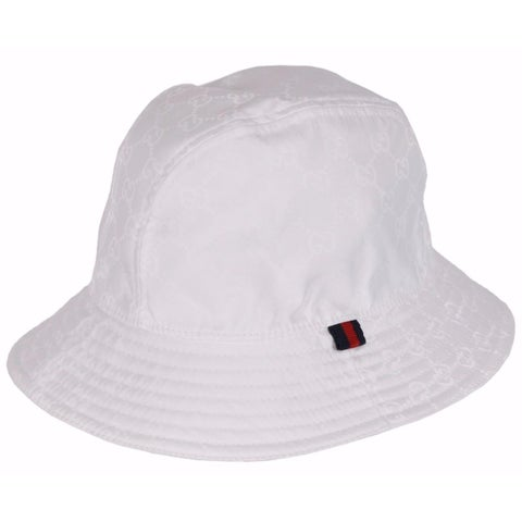Gucci Men's 387558 WHITE GG Guccissima Nylon Bucket Rain Hat SMALL 57 CM