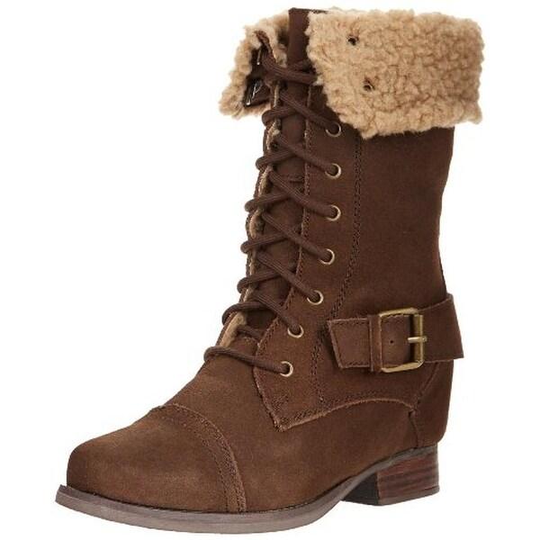 Skechers Womens Infantry Stylish Soldier Combat Boots Suede Hidden Wedge