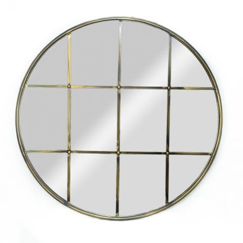 Large Round Windowpane Mirror with Antique Bronze Metal Finish - 30 inches