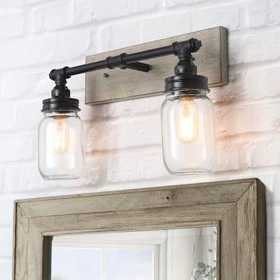 2-Light Mason Jar Bathroom Light Fixtures/ Farmhouse Vanity Light Fixture with Glass Globes for Powder Room/ over Mirror