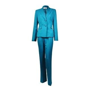 Le Suit Women's Notch Lapel Two Button Woven Pant Suit - 6