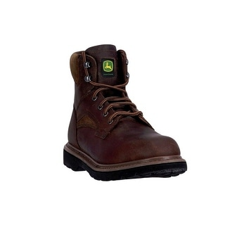 "John Deere Western Boots Mens 6"" Steel Toe Lace Up EH Brown JD6394"