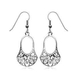 Pair of Stainless Steel Vintage Swirl Design Purse Earrings