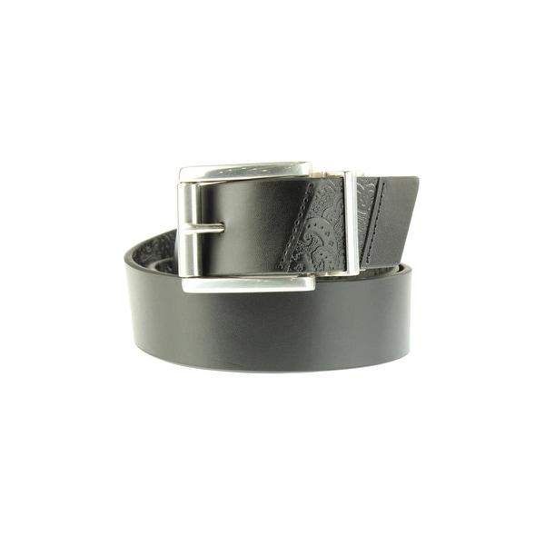 Robert Graham Mens Potter Casual Belt Faux Leather Reversible