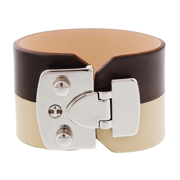 Stamerra BOSSA NAVARIO Black/Ivory Genuine Leather Cuff Bracelet