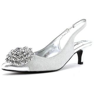 J. Renee Estee Women  Pointed Toe Canvas Silver Slingback Heel