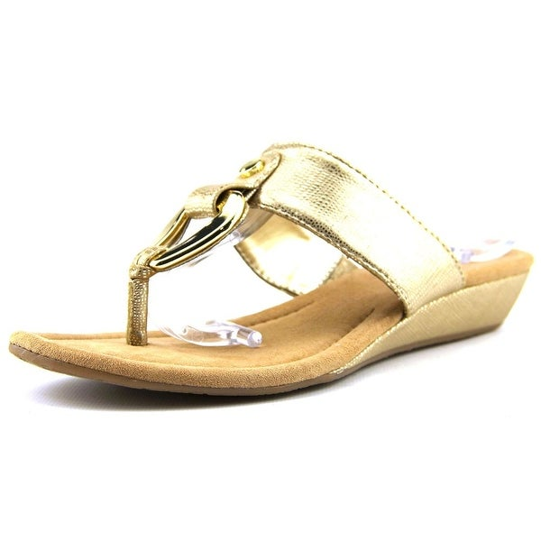Alfani Forray Women Open Toe Synthetic Gold Thong Sandal