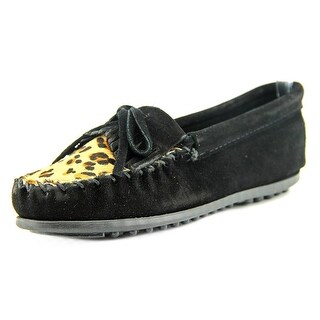 Minnetonka Leopard Kilty Round Toe Leather Loafer