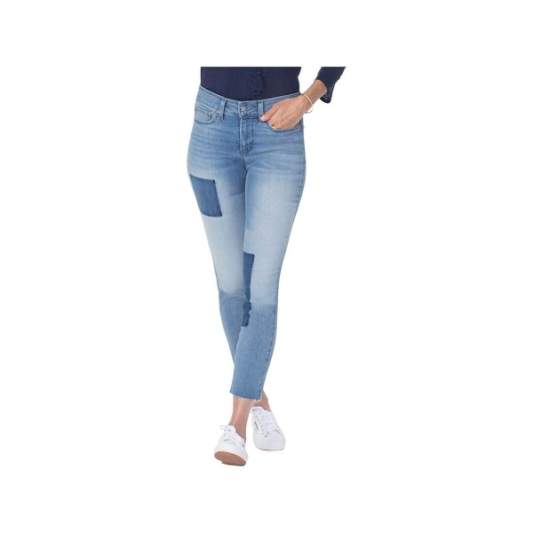NYDJ Womens Alina Skinny Jeans Raw Hem High Rise