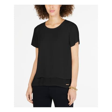 MICHAEL KORS Womens Black Short Sleeve Jewel Neck Top Size 2XS