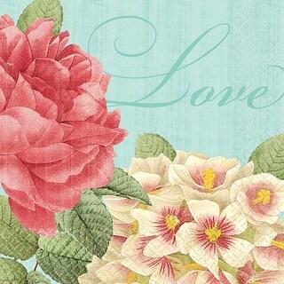 """Green & Pink - Blissful Blooms Beverage Napkins 5""""X5"""" 36/Pkg"""