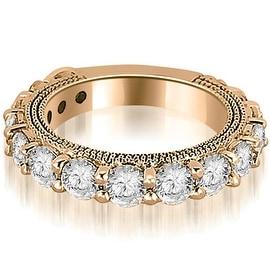 1.90 cttw. 14K Rose Gold Antique Round Cut Diamond Wedding Band
