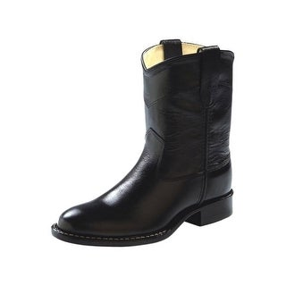 Old West Cowboy Boots Boys Girls Kids Roper Leather Black