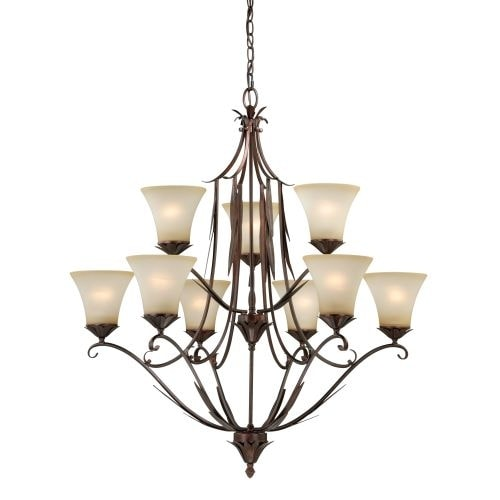 Vaxcel Lighting H0077 Coricelli 9 Light Two Tier Chandelier with Glass Shades - 34.25 Inches Wide