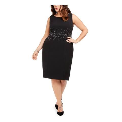 KASPER Womens Black Sleeveless Knee Length Sheath Dress Size 18W