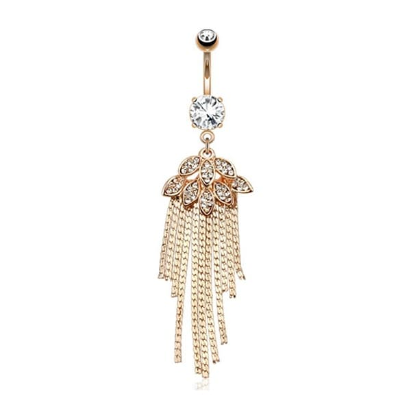 Leaves and Chains CZ Paved Dangle Rose Gold Plated Belly rings
