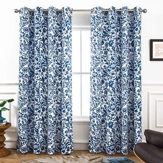 Link to Porch & Den Ouzel Floral Watercolor Blackout Lined Window Curtain Panel Pair Similar Items in Curtains & Drapes