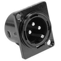 Seismic Audio XLR Male Panel Mount Connector - Black Metal Housing - D Hole