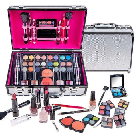 SHANY Carry All Makeup Train Case with Pro Makeup, Reusable Aluminum Train Case - Medium