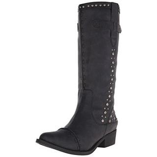 C Label Womens Topaz Cowboy, Western Boots Faux Leather Studded - 6.5 medium (b,m)
