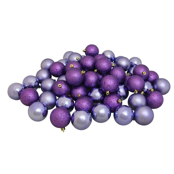 "60ct Shatterproof Amethyst Purple Shiny and Matte Christmas Ball Ornaments 2.5"" (60mm)"