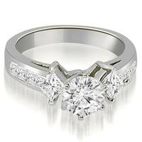 1.50 ct.tw Channel Set Princess and Round Cut Diamond Engagement Ring - White H-I