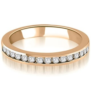0.30 cttw. 14K Rose Gold Round Diamond Classic Channel Wedding Band (Option: 3)