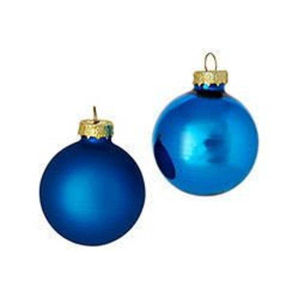 """28ct Blue Shiny and Matte Glass Ball Christmas Ornaments 2"""" (50mm)"""